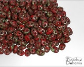 10 g Coral Dark Travertin Czech Superduo Beads 2,5x5 mm (8008)