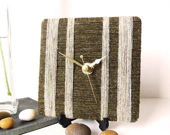Pure Shetland Wool Desk Clock / Small Wall Clock Olive Green and Creamy Green - 100% British Shetland Wool