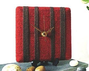 Wool Desk Clock / Small Wall Clock Burnt Orange Rusty Red Terracotta and Dark Chocolate Brown Yarn