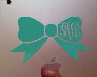 4 Inch Bow Monogram Sticker Decal Vine or Circle