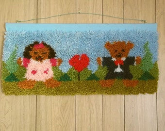 "Latchhooked Wall Hanging ""We Love You THIS Much"""