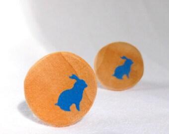 Blue Bunny Buttons, Blue Wooden Buttons, Natural Wood Buttons, Handmade Buttons, Shank  2pce  25mm
