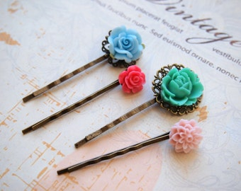 Bobby pins, flower hair pins, hair accessories, bridesmaid gift flower bobby pins set, hot pink, pastel pink, blue, turquoise flower