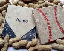 BASEBALL Home Base Natural Stone Coaster Set (4), Beer Coaster, Wine Coaster, Drink Coaster, Sports Theme