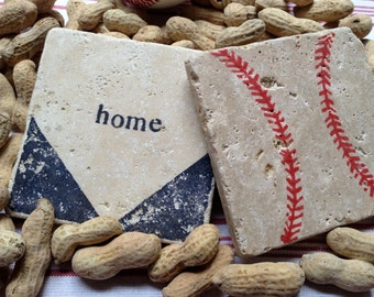 BASEBALL Home Base Natural Stone Coaster Set, Beer Coaster, Wine Coaster, Drink Coaster, Sports Theme
