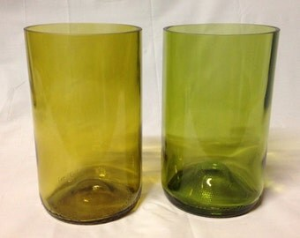 Wine Bottle Tumbler Glasses. Recycled glass bottles. Colored glass tumblers.