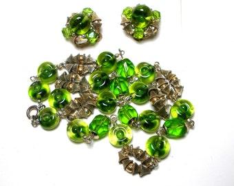 Green Bullseye Glass Bead 20 in Necklace Clip ERs Set BiColor Metal