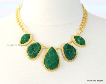 Emerald Green Druzy Stone Necklace Dark Green Geode Stone Statement Necklace