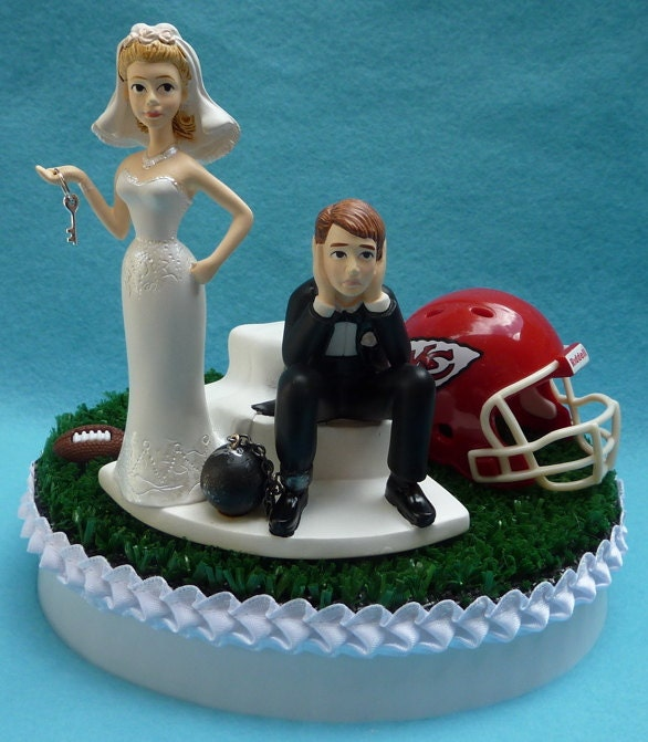 wedding cake toppers party city wedding cake topper kansas city chiefs kc football themed 26570