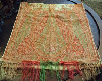 Kashmir Paisley Shawl Antique 1800's, Cream with Red, Gold, Green