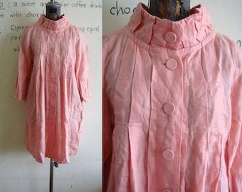 Vintage 80s Classic H&M cowl neck coat dress tunic Winter Hot Pink Orange XS S brand name