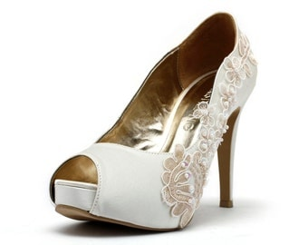 Romance & More, Ivory White Wedding Shoes,Ivory White Bridal Heels,Ivory White Satin Beaded Lace Wedding Shoes, Ivory White Lace Bridal Heel