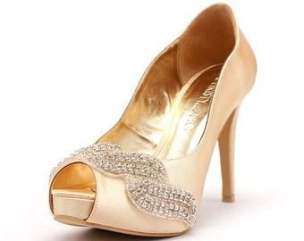 Covet, Champagne Peep Toe Wedding Heel with Swarovski Elements and Beads, Gold Bridal Heel, Champagne Gold Satin Wedding Heel