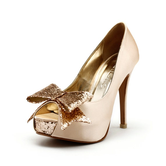 Champagne Wedding Heels, Champagne Gold Wedding Shoes with Glitter,  Gold Glitter Wedding Heels, Champagne Gold Wedding Shoes