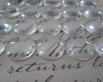 40 Pcs Clear Dome Cabochon, 16mm Glass Cabochon,,  Cameo Covers, Flat back Cabochon