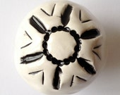 """Handmade Rustic Ceramic KNOB, Black & off White, Handle, Pull, Drawer, Cabinet, Cupboard, Approx (1 1/2 """" x 1 3/8"""") Antique Spanish Nordic"""