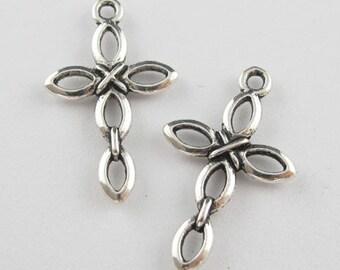 5pcs silver loop cross charms