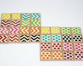 Square wooden matching game with two patterns, polka dots and chevron