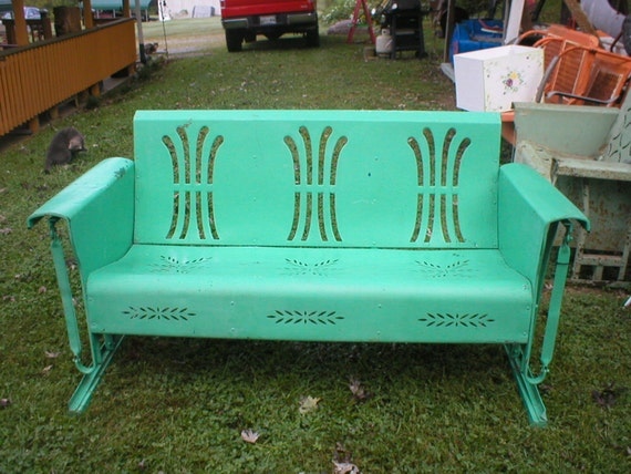 Rare Bundle Of Wheat Metal Porch Glider