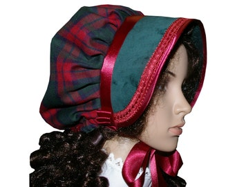 Ladies Victorian/Edwardian American Civil War costume green & tartan bonnet