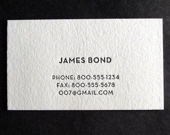 250 Custom Letterpress Business Cards - Secret Agent
