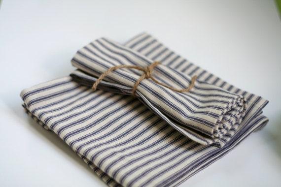 Blue stripe cloth napkin, blue and cream cloth napkins, picnic napkins, lunch napkins, blue French Ticking Stripe Cloth Napkins, small size