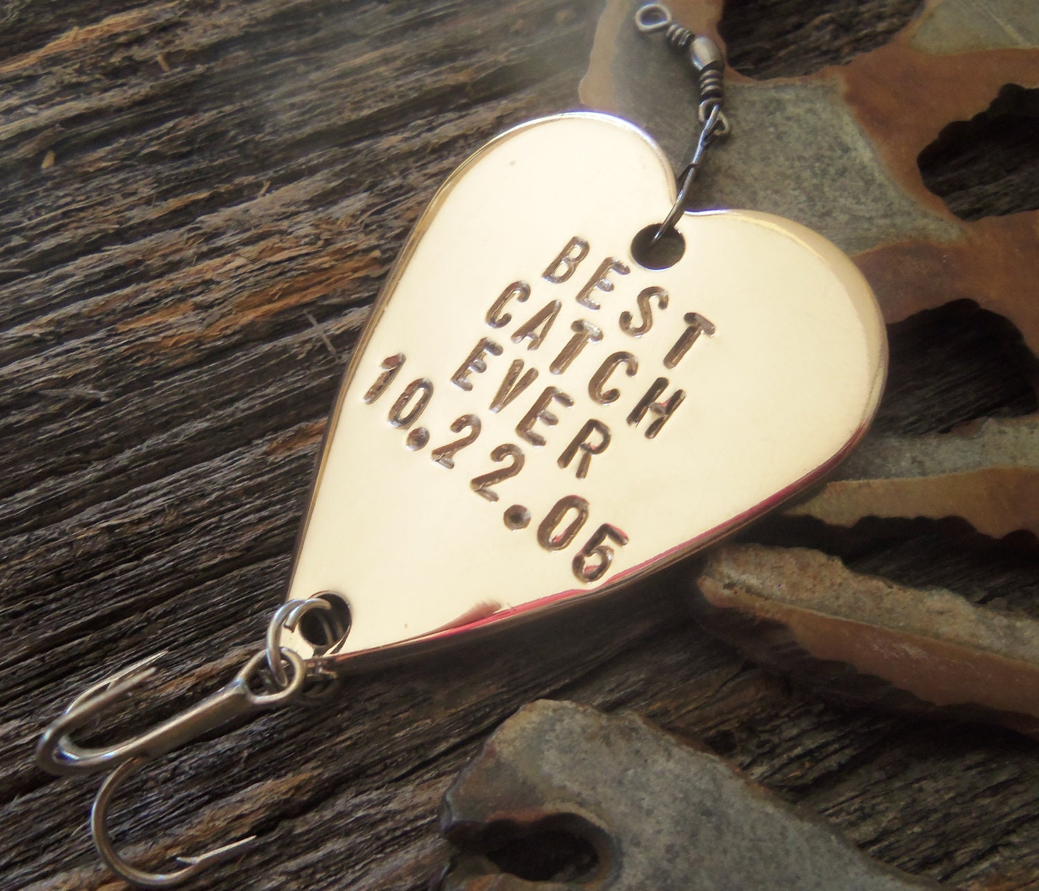 Personalized fishing lure hand stamped fishing hook metal for Personalized fishing lures