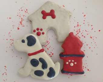 Dog Treats//Homemade Gourmet Wheat Free Dalmation Dog, FIre Hydrant, Dog House Peanut Butter Treats for Dogs