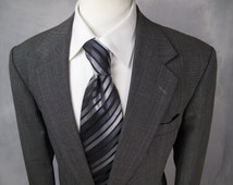 Vintage MOD Blazer Sport Coat 44R / XL / Tailored Darted Fit Jacket Wool FINE Weave