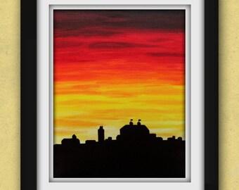 University of Kansas Evening Skyline Print