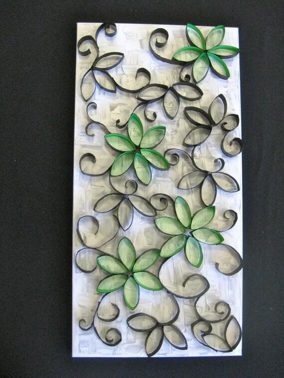 Paper Flower 3D Art / Canvas 12x24 / Green and Black / Modern