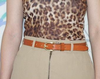 90's vintage women's brown leather belt