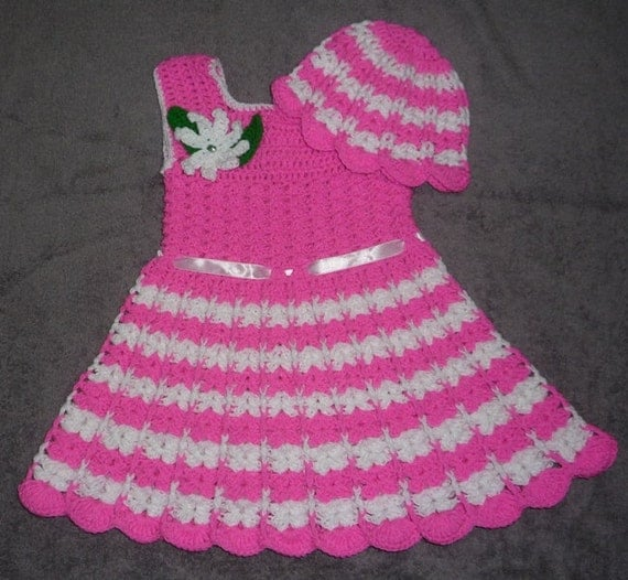 Crochet Baby Dress And Bonnet Pattern : crochet easy baby dress and hat pattern/ cute dress pattern/