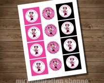 INSTANT DOWNLOAD MINNIE Mouse Pink Party Circles, Minnie Mouse Gift Tag, Gift Box Sticker, Minnie Mouse Birthday Party Favor, My Celebration