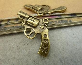 20pcs 23x29mm Antique Bronze Gun Charms Pendants Jewelry Findings Wholesale AC4629