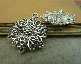 20pcs 30x24mm Antique Silver Flower Charm Pendant AC4568