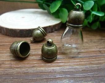 20pcs 12x16mm Antique Bronze Glass Cover Loop Cap fit fot Glass Bottle/  Vial/  Phial/  Little Bottle Wholesale AC6571