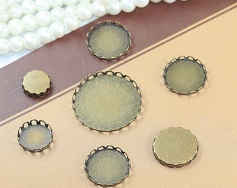 Antique Bronze Lace Edge Bezel Cup Cabochon/ Cameo Mountings 10~35mm