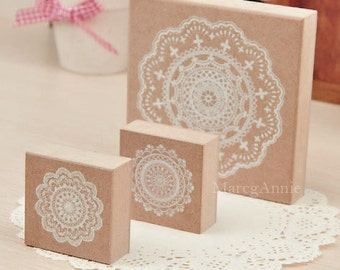 3pcs/set Lace Stamp Series - Wooden Rubber Stamps - Lace Stamp - Diary Stamps - 3 pcs in