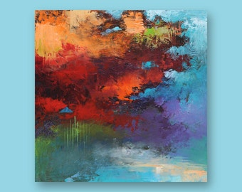 """Original Abstract Art Painting  •  12"""" x  12"""" Contemporary Art  • FLOATING SQUARE #1  •  Oil Painting"""