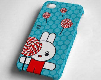 Lollipop - Rabbit - iPhone 4 4S Case - IP4 IP4S Cover - Plastic iPhone4 Case