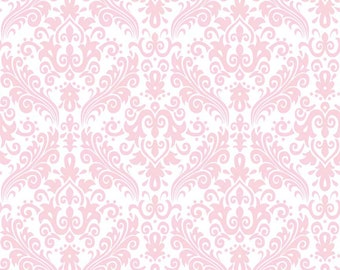 Baby Pink Damask Fabric - Pink on White by Riley Blake Hollywood.  Baby, nursery, or quilts. 100% cotton.  C820-75