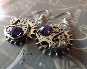 10% off sale17  Steampunk Purple Velvet Earrings - Steampunk Jewelry by Steamretro - Steampunk Earrings