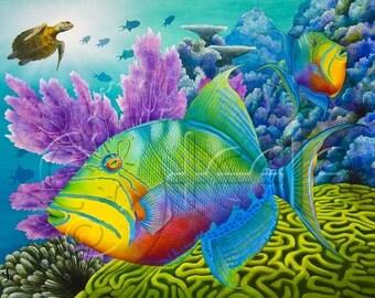 "Carolyn Steele tropical art print - Queen Triggerfish: ""Trigger Happy"""