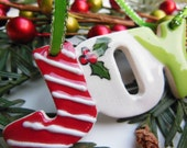 JOY Handmade Ceramic Christmas Ornament, Red, White, and Green Glazed Pottery Decoration with Holly, Candy Cane Striped Holiday Decoration - ThisOnesMineDesigns