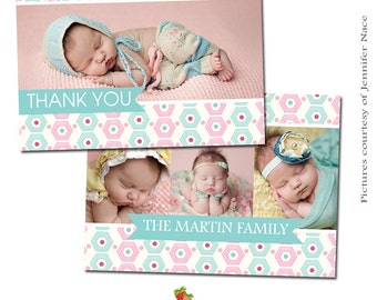 INSTANT DOWNLOAD 5x7 Multipurpose Card Template - Birth Announcement Thank You Card - CA121