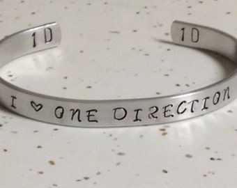 I love one direction-Custom hand stamped bracelet
