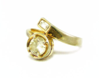 Beautiful Gold Wrap Ring with Round Cut and Emerald Cut Clear Rhinestones - Size 8.5 and