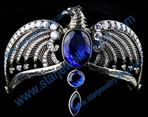 Classic Noble diadem with red gem eye blue corundum large stone and AAAAA crystal---925sterling diadem
