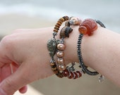 Educated Striped jasper silver band bracelet Marissa